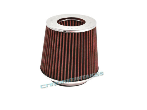 """RED UNIVERSAL 3.5/"""" 89mm CONE AIR FILTER FOR DODGE//JEEP SHORT//COLD AIR INTAKE"""
