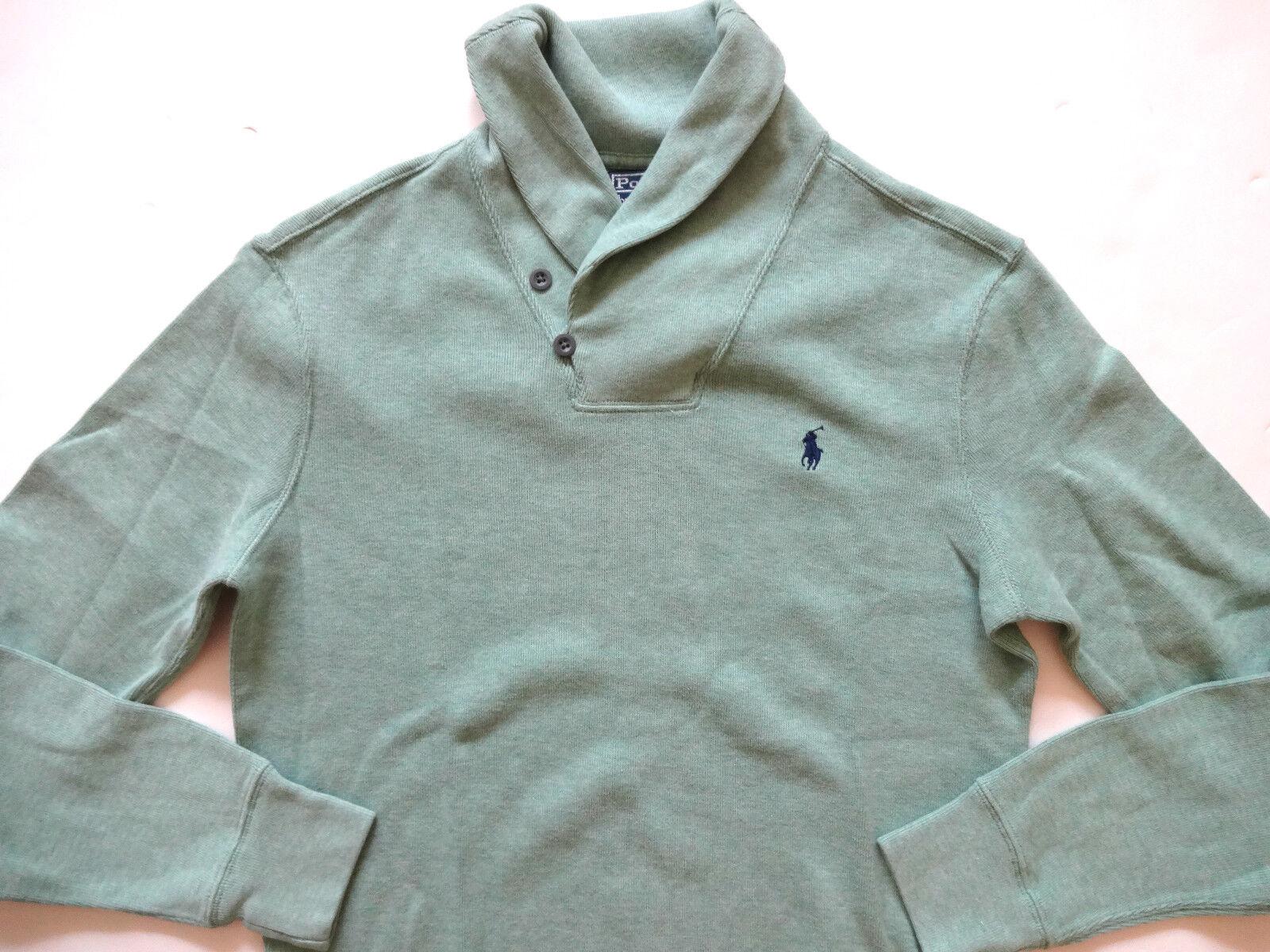 New Ralph Lauren Polo Light Green Shawl Collar Warm 100% Cotton Sweater S