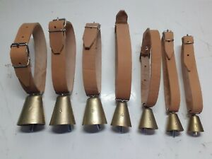 Campane  numerate  con collare in cuoio per ovini, caprini e cani da caccia