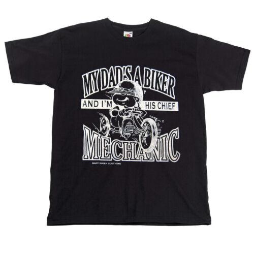 Kids Children Motorcycle T-Shirt My Dad/'s A Biker I/'m His Chief Mechanic Black T