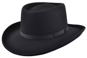 Image is loading Maz-Crushable-Wool-Felt-Gambler-Cowboy-hat-Black- fcc2c62e6855