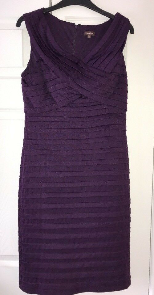 Phase Eight Bodycon Fitted Dress Purple Cross Front VGC