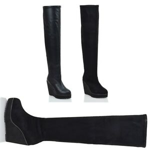 Womens-Over-The-Knee-High-Platform-Wedge-Ladies-Stretch-Long-Thigh-Leg-Boots