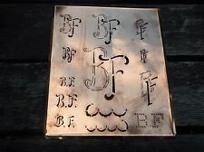 """Monogramm """" BF """" Wäschemonogramm Wäscheschablone Wäschezeichen 11/13 cm KUPFER"""