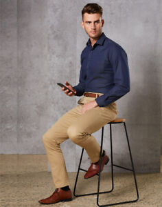 Benchmark-Mens-Boston-Stretch-Chino-Pants-Professional-Casual-Business-Wear-Slim
