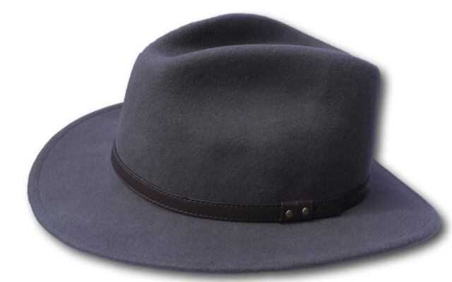 0fc04f953fdf42 High Quality Grey Wide Brim 100 Wool Felt Fedora Trilby Hat - Medium ...