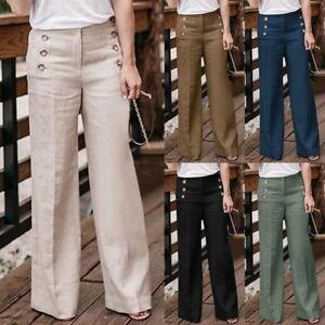 cc0ac3daaaf Casual Women Linen Cotton Wide Leg Pants Loose High Waist Breathable ...