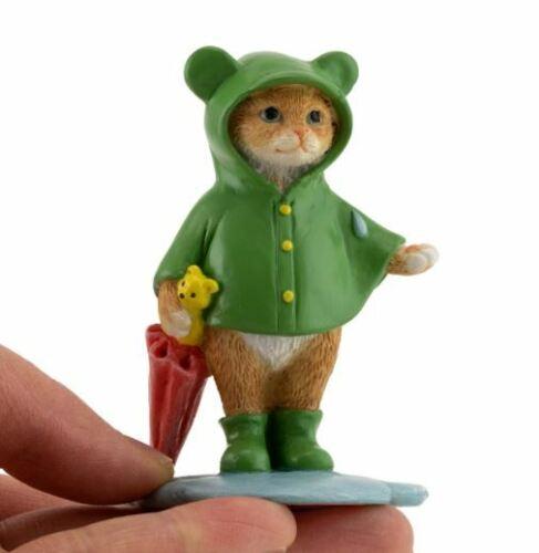 Miniature Dollhouse FAIRY GARDEN ~ Mini Kitten Feeling Froggy on a Rainy Day