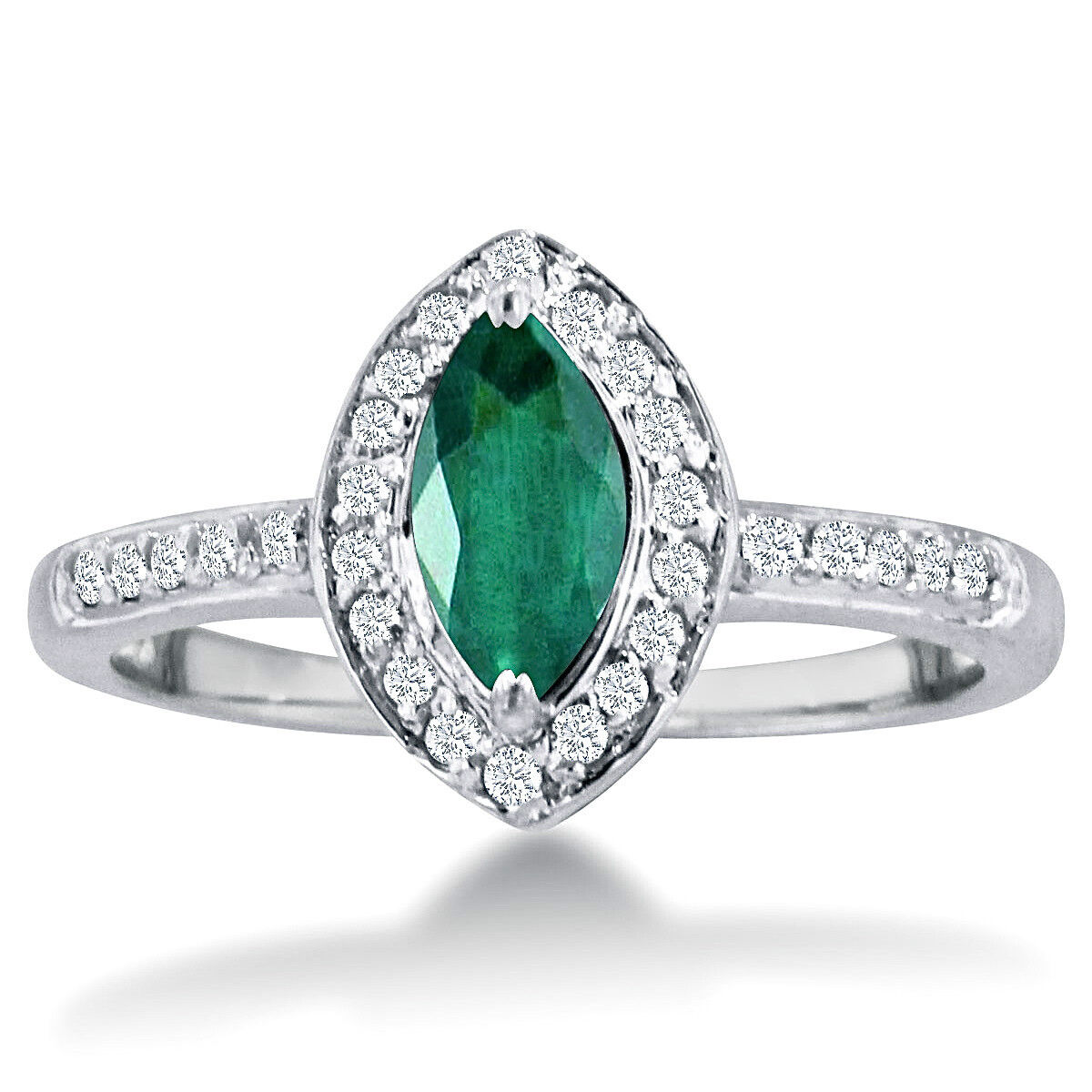 14K WHITE gold 1CT MARQUISE EMERALD AND DIAMOND HALO RING, SIZE-7