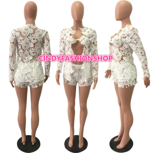 F1USA Women Ladies 2 PC Lace Long Sleeve Party Short Body con Jumpsuit /& Romper
