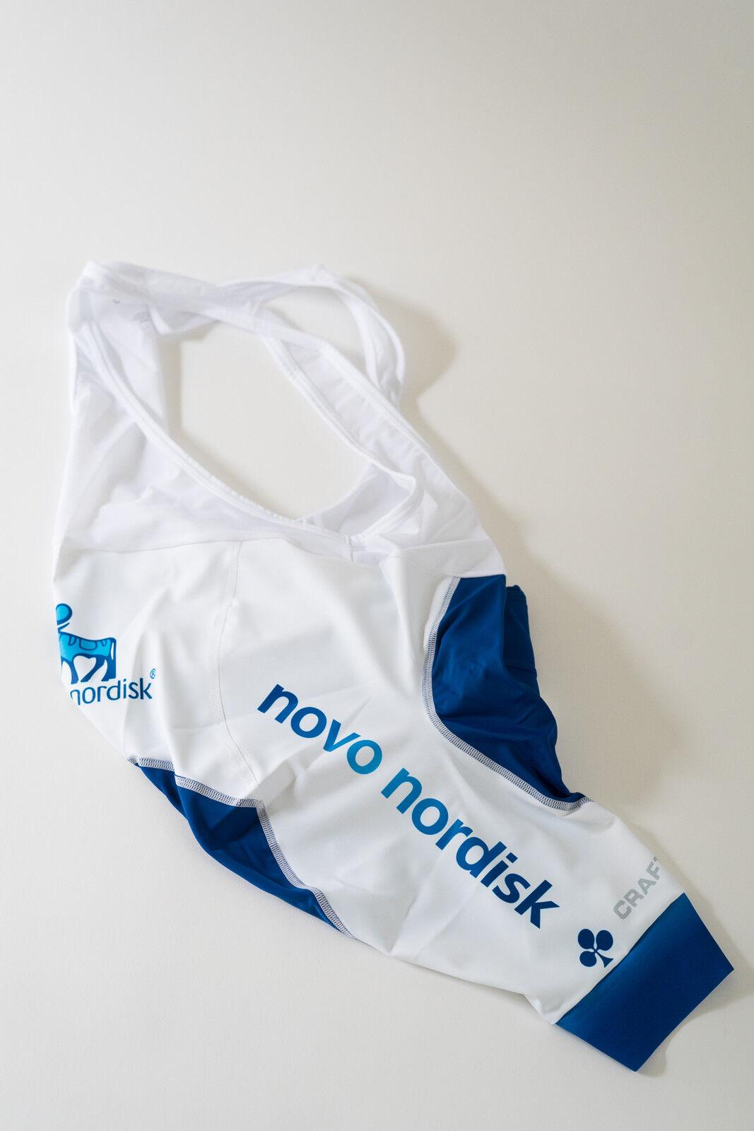 New Men's 2017 Craft Team Novo Nordisk PBC Cycling Bib Shorts, White, Size Large