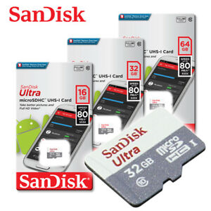 SanDisk-Ultra-New-16GB-32GB-64GB-micro-SD-HC-Flash-Memory-Card-80MB-Class10