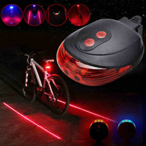 2 Laser 5 LED Cycling Red Rear Tail Light Bicycle Bike Flash Safety Warning Lamp