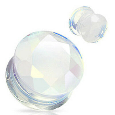 "PAIR Faceted Opalite Plugs Gauges 4g,2g,0g,00g,1/2"",9/16"",5/8"""