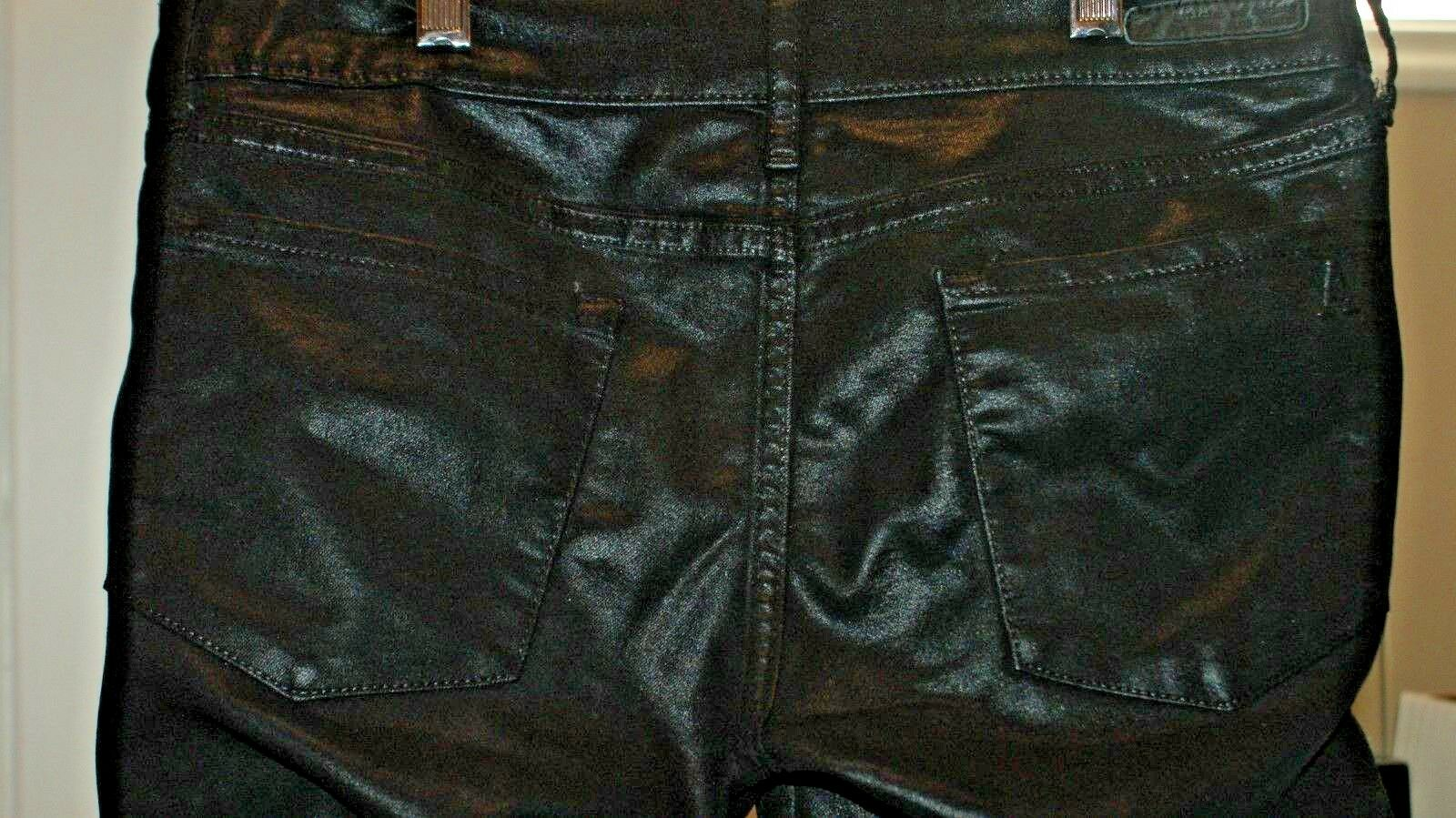 Articles of Society Blk Mya Moto Power Stretch Coated Skinny Fit Jeans Size 28