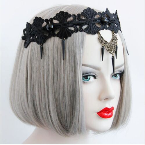 Retro Beaded Lace Dangle Punk Gothic Crown Headband Wedding Bridal Emo Queen