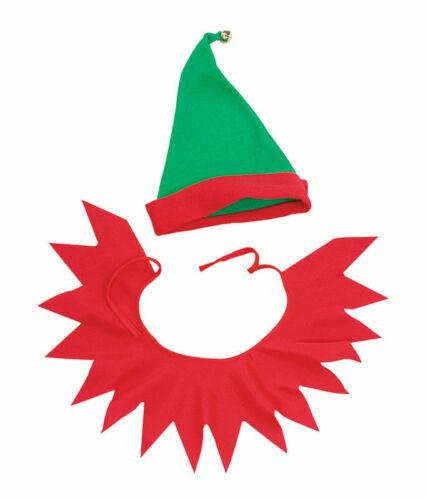 Adult Santa/'s Helper Hat and Collar Set Father Christmas Elf Set