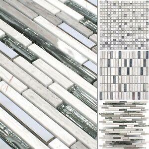 Details zu Glas Stein Stahl Mosaikfliesen Elektra Grau für Steinwand  Wandfliesen Küche Bad