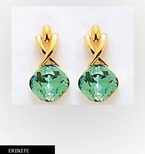 "Made with SWAROVSKI CRYSTAL ELEMENTS  ERENITE"" DANGLE EARRINGS gold PLATED"