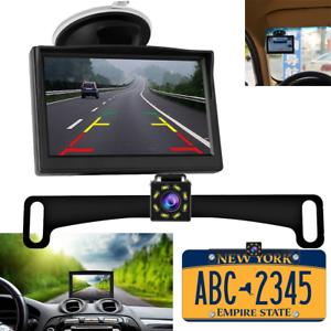 Backup-Camera-170-Wide-Angle-License-Plate-CMOS-Night-Vision-5-039-039-LCD-Monitor