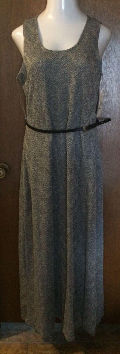 Sharagano schwarz Belted  Crochet Look  Maxi Dress Woherren Größe 14 NWT