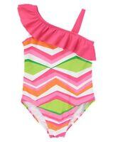 Gymboree One Shoulder Chevron Ruffle One-piece Swimsuit Swimwear Upf 50+