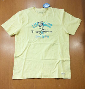 df19495e7cd Life Is Good Men T-Shirt Stand Up Guy Lemony Yellow Classic Fit NWT ...