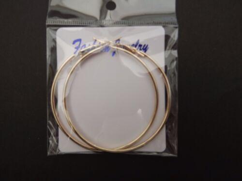 18K Gold Plated Large Big Round Hoop Loop Ring Earrings.Leverback 60mm NEW