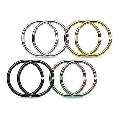 16g Piercing Ring Edelstahl 8mm Knorpel Ohrringe Nase Lippen Augenbraue Tragus