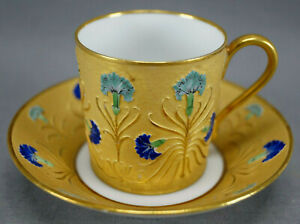 French-Hand-Painted-Egyptian-Revival-Lotus-Flower-Gold-Demitasse-Cup-amp-Saucer