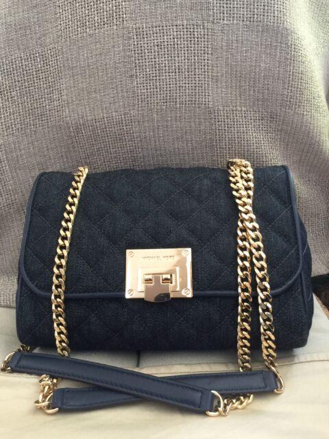 Michael Kors Flap Vivianne Chain Blue Denim Shoulder Crossbody Bag. MSP $328.00