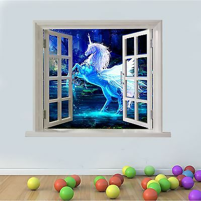 Wall art Graphic CRYSTAL UNICORN FANTASY VIEW FAUX WINDOW Printed Vinyl Sticker