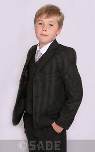 Image Is Loading Boys Suit Black Pinstripe Autumn Winter Weddings Age