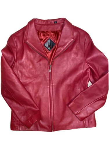 Vintage 80's Tiboa Leathers Red Soft Leather Coat