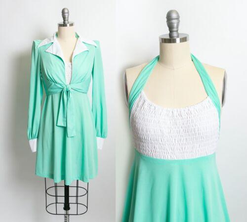 Vintage 1970s Dress Young Innocent Mint Ensemble S
