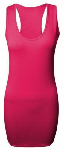 New Ladies Womens Long Racer Back Bodycon Muscle Vest Top Gym Top Size Upto 8-26