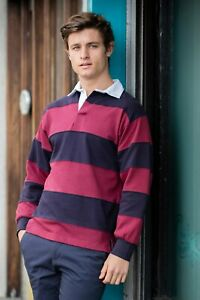 Front-Row-rugby-Sewn-a-rayures-a-manches-longues-Rugby-Chemise-FR08M