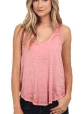 Free People F051U784 Breezy Seam Detail Slub Knit Sleeveless Tank Faded Rose $38