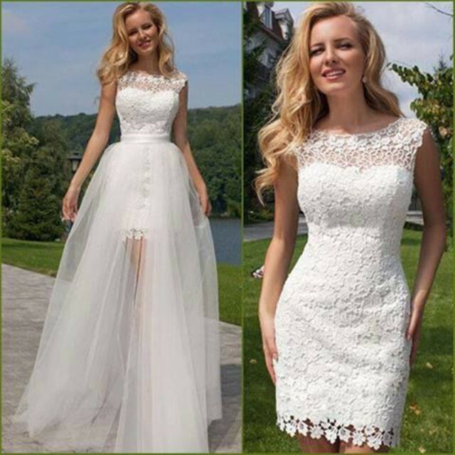 White/ivory Lace Short Beach Wedding Dresses Detachable
