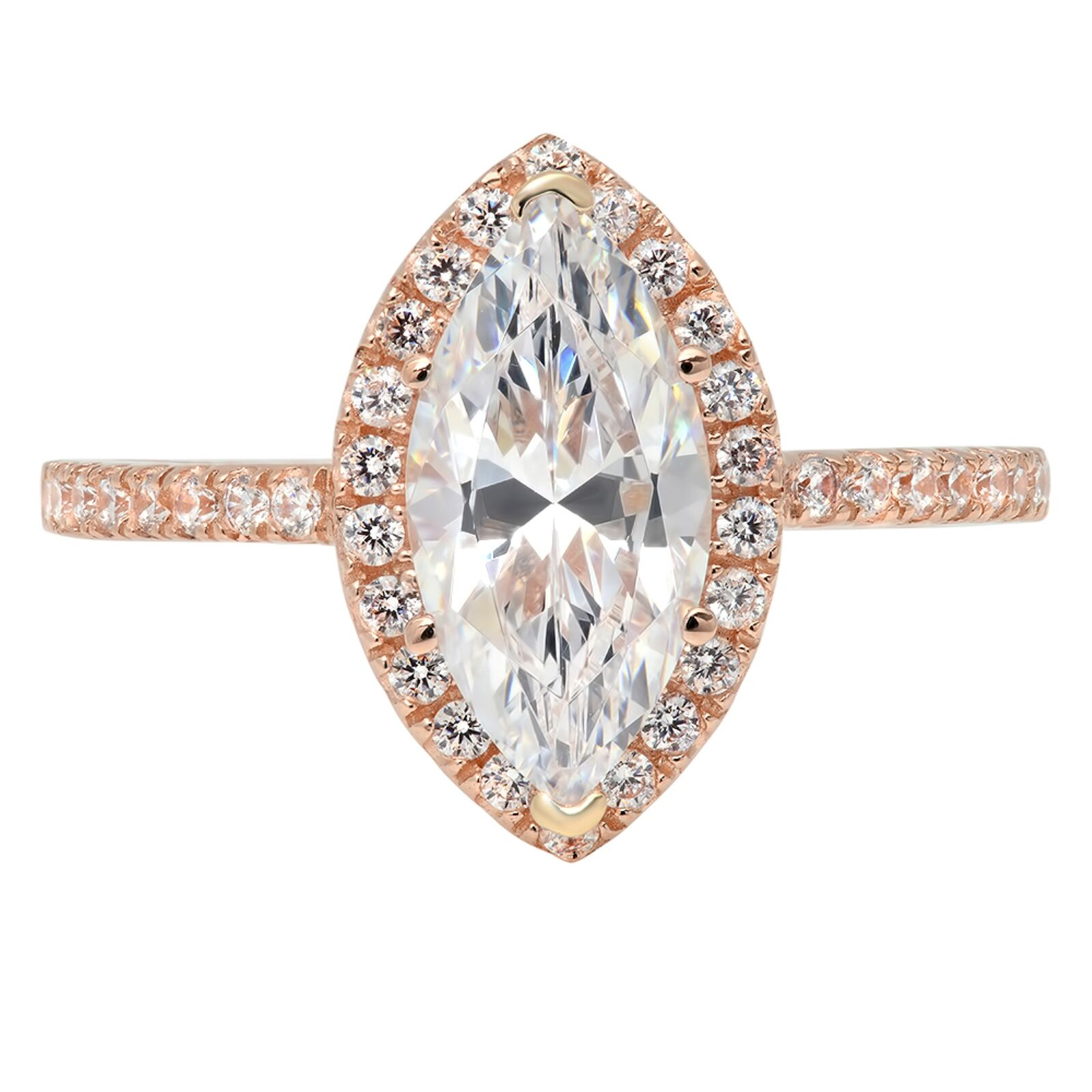 2.28ct Marquise Cut Halo Statement Engagement Bridal Ring Solid 14k pink gold
