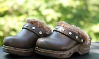 Gymboree Girl's Mountain Cabin Brown Clogs Faux Leather/fur Jewels Shoes Size 10