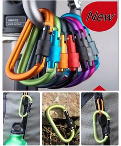 5X Outdoor D-Ring Aluminum Screw Locking Carabiner Hook Clip Climbing Keychain K
