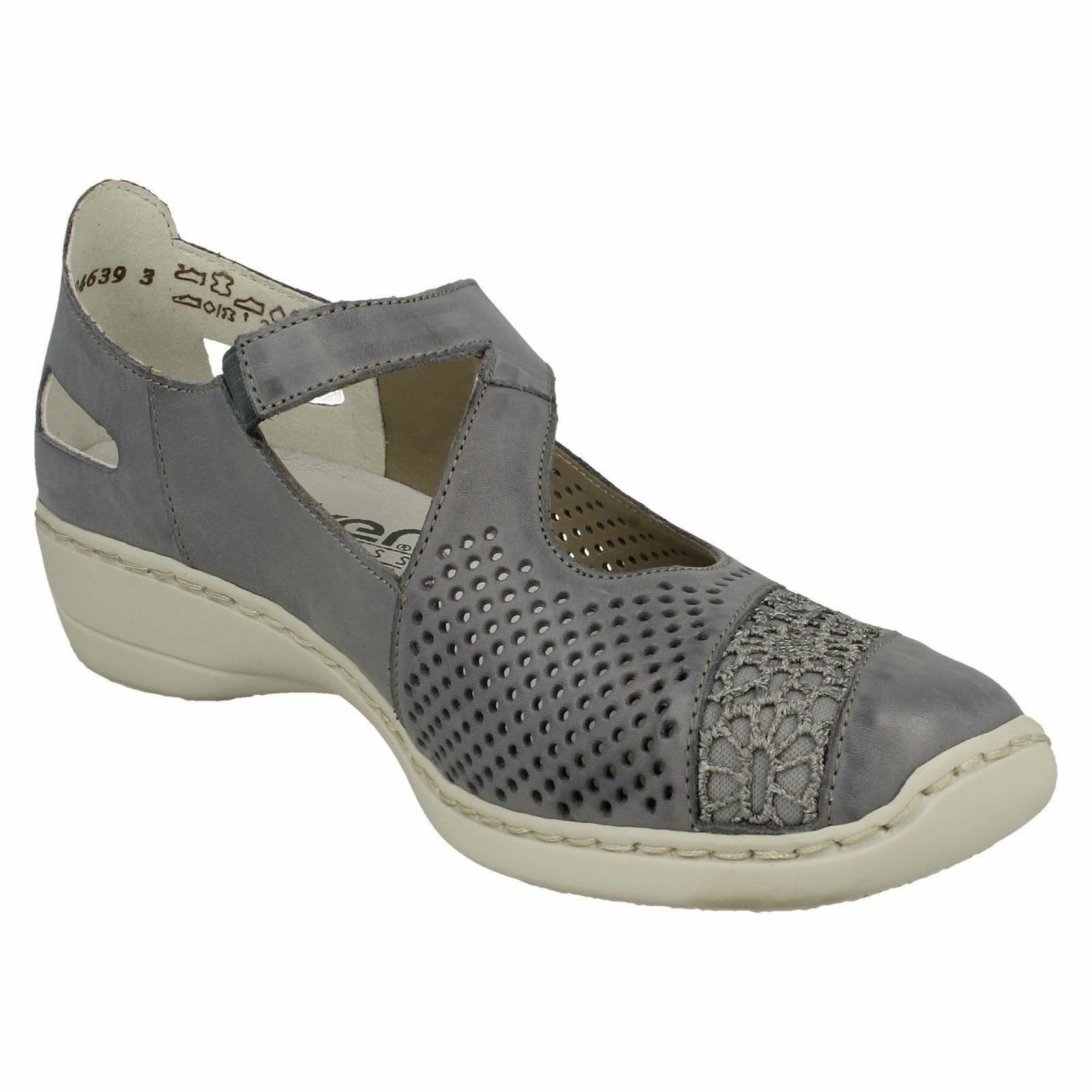 LADIES RIEKER RIEKER RIEKER 41346 Blau LEATHER MARY JANE CASUAL EVERYDAY BAR FLAT Schuhe SIZE c4968f