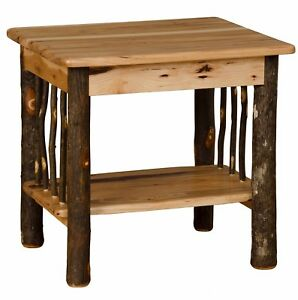 Details About Rustic Hickory And Oak End Table Amish Made In Usa