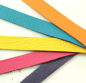 Leather Strap, 1/2 InchX10 Inch, Bright Multi Colored Mix, TierraCast, 5 Pieces