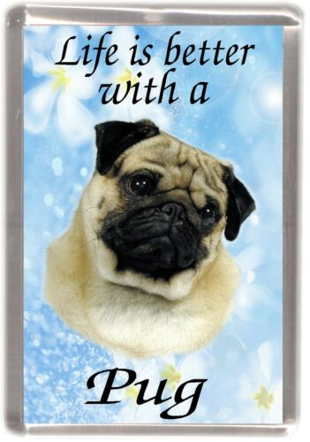 """Pug Dog Fridge Magnet /""""Life is better with a Pug/""""  by Starprint Fawn"""