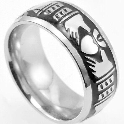 SZ 7-15 7MM Claddagh Ring Stainless Steel Heart Wedding Irish Engagement Celtic