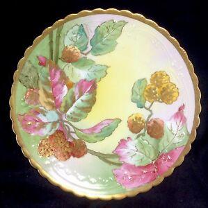 """Elite L France Hand Painted Limoges Raspberries Berries Vintage 9.25"""" Plate"""