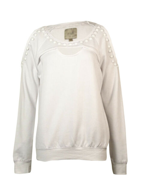 96315e19af942b GUESS Long Sleeve Studded Cutout Cropped Cold Shoulder Top White S ...