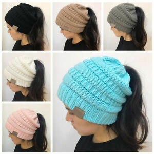 Winter-Women-Stretch-Knit-Hat-With-Tag-Messy-Bun-Ponytail-Holey-Warm-Beanie-Caps